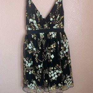 Express short floral black dress (yellow flowers)